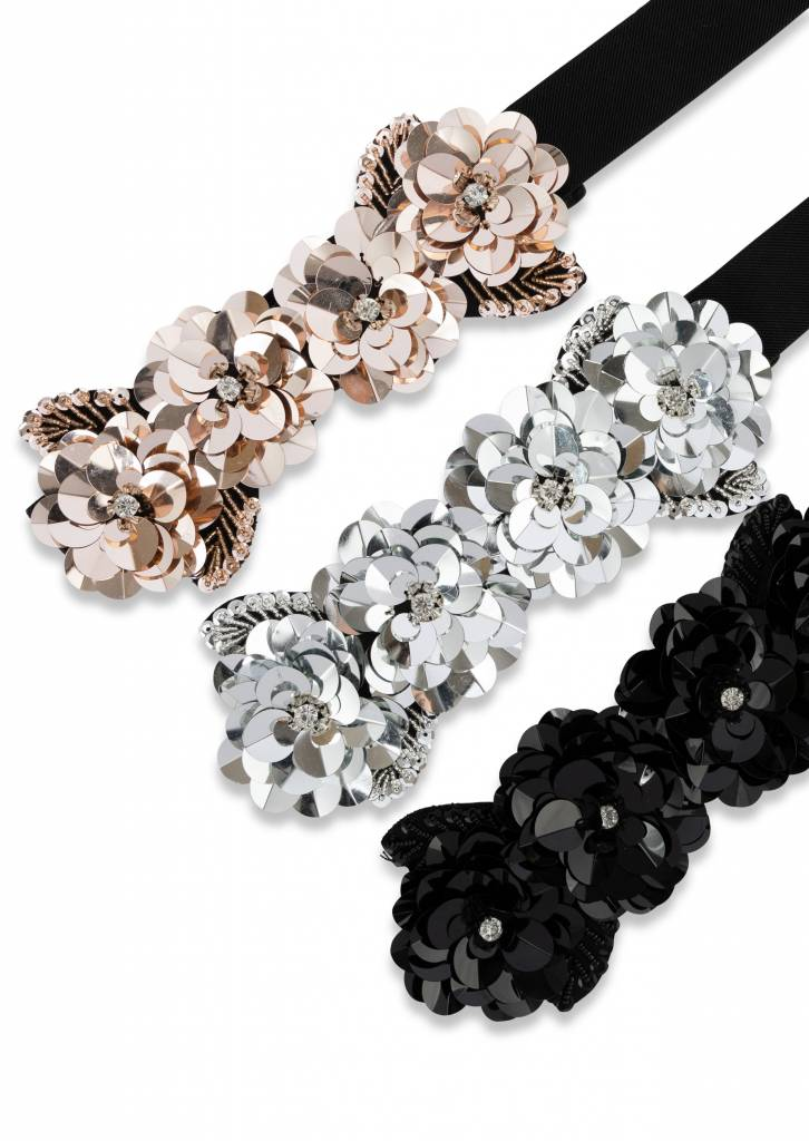 Two 12 Fashion Sequin Floral Belt