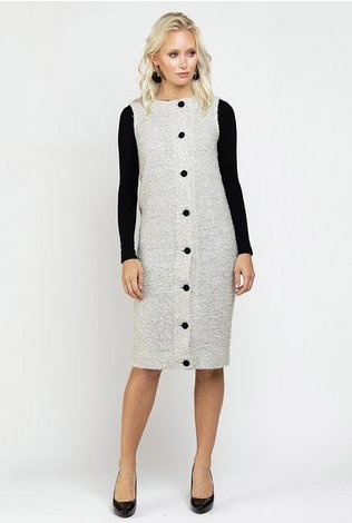 Ricciel Tweed Button Vest Dress