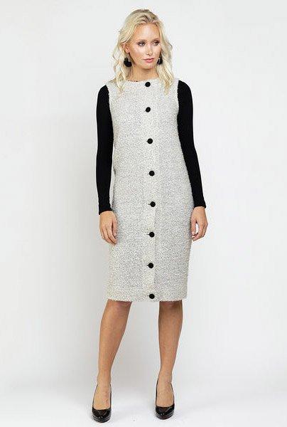 Ricciel Tweed Button Vest Dress