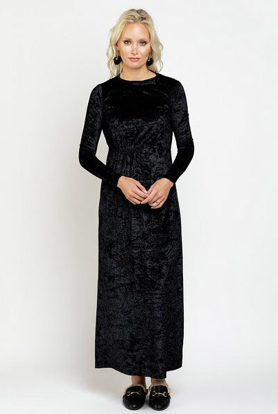 Ricciel Crushed Velvet Gathered Maxi