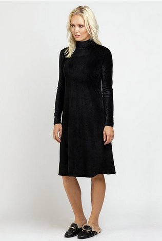 Ricciel Velour Ribbed Turtleneck Dress