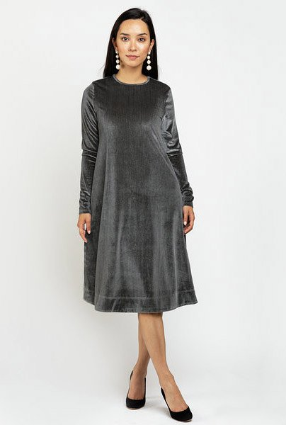 Ricciel Velour Pinstripe Dress
