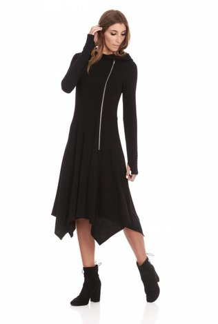Bella Donna Hooded Zipper Dress