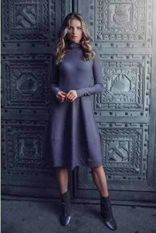 Ellie Makir Fit N Flare Ribbed Dress