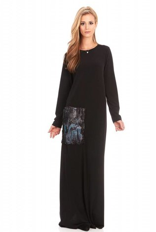 Bella Donna Maxi With Teal Fur Pocket