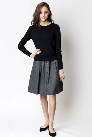 Weekend Ribbed Knitted Dress with Felt Bottom