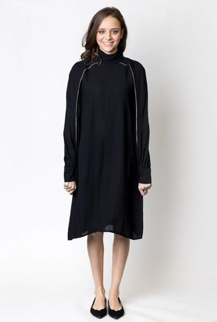 Harper Chiffon Swing Dress with Raglan Buttons