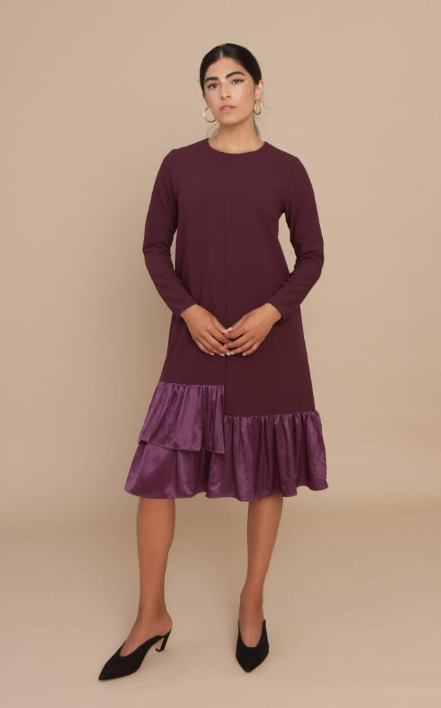 Solika Satin Ruffle Dress