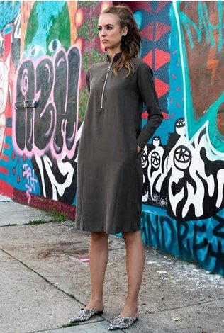 Third Overlap Zip Dress