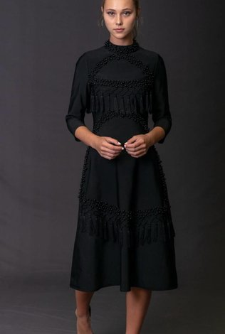 Front Row Couture Black Pearls Dress