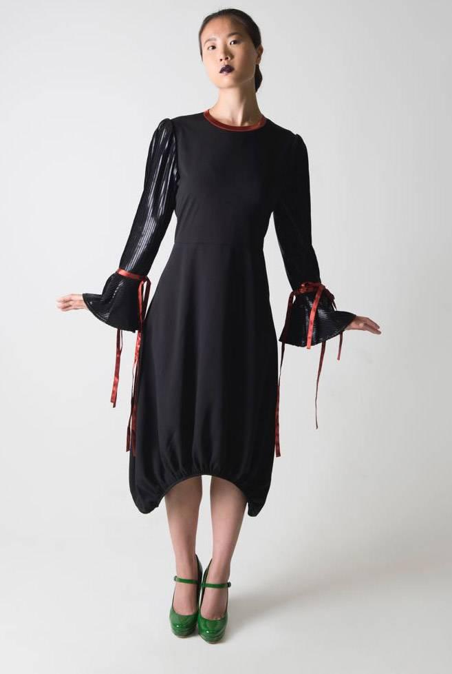 Ruti Horn Ribbon Cuff Bubble Dress