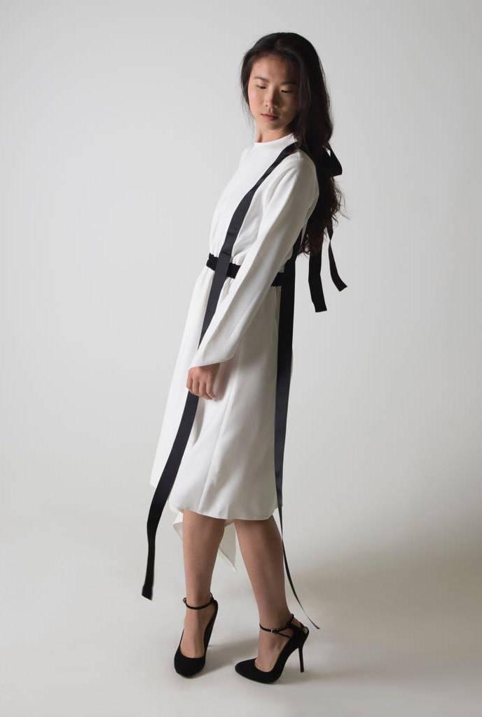 Ruti Horn Harness Ribbon Asymmetric Dress