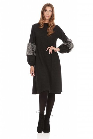Bella Donna Fur Detail Sleeve Dress