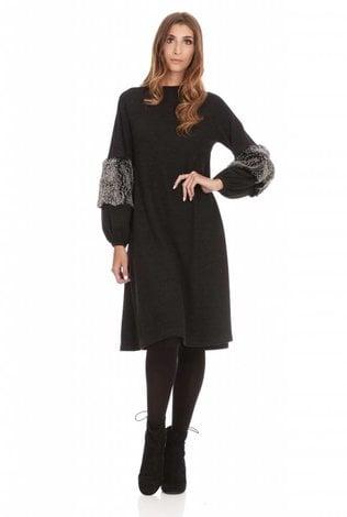 Bella Donna Fur Detail Sleeve Dress