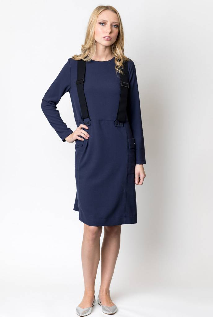 Weekend Patch Pocket Dress with Suspenders
