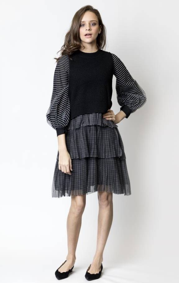 Weekend Balloon Sleeve Mesh Dress with Knit Vest
