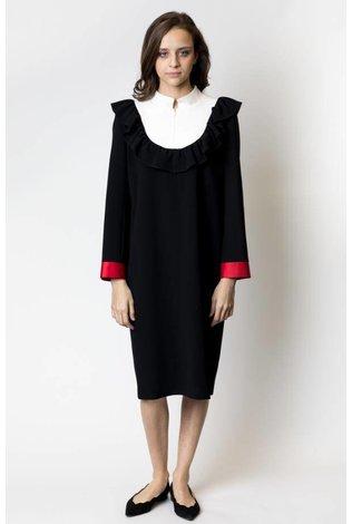 nova Mandarin Collar Dress with Contrast Cuffs