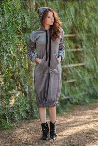 Go Couture Velour Hooded Dress