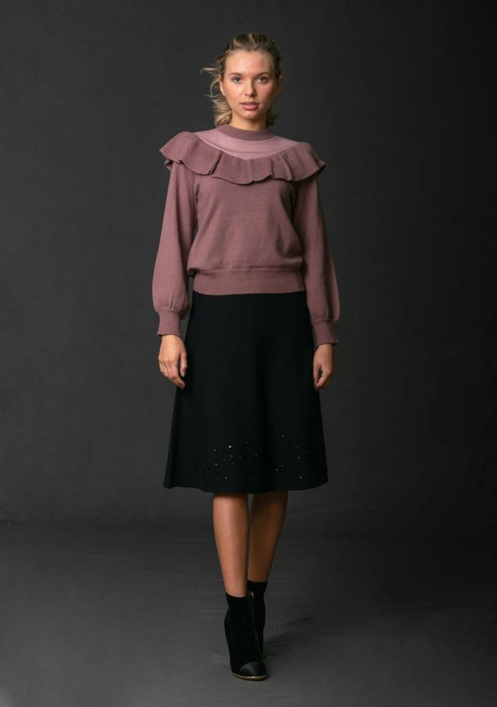 Front Row Couture Ruffle Tie Cropped Sweater