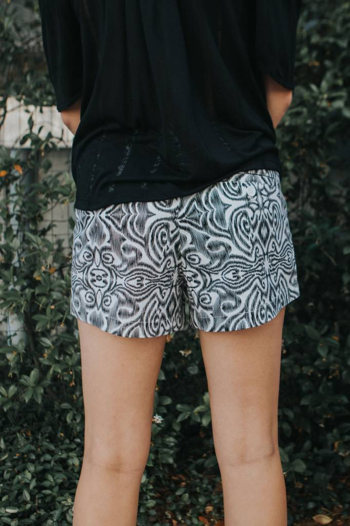 MACBETH BLK/WHT PRINT SHORTS