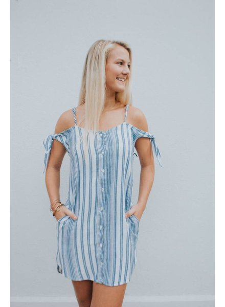 BELLA DAHL SHOULDER TIE BUTTON DRESS