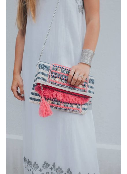 AMERICA & BEYOND MINI TASSEL EMBELLISHED CLUTCH
