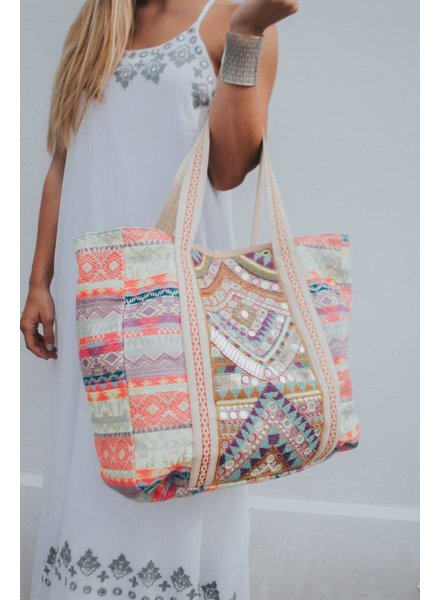 AMERICA & BEYOND NEON BLUSH TOTE BAG