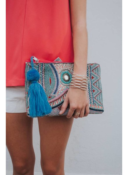 AMERICA & BEYOND HEAVY EMBELLISHED CLUTCH