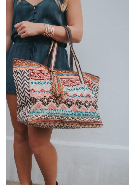 AMERICA & BEYOND EMBELLISHED JACQUARD BAG