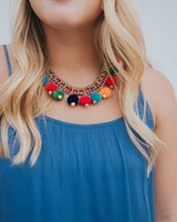 AMERICA & BEYOND MULTI COLOR POM POM NECKLACE