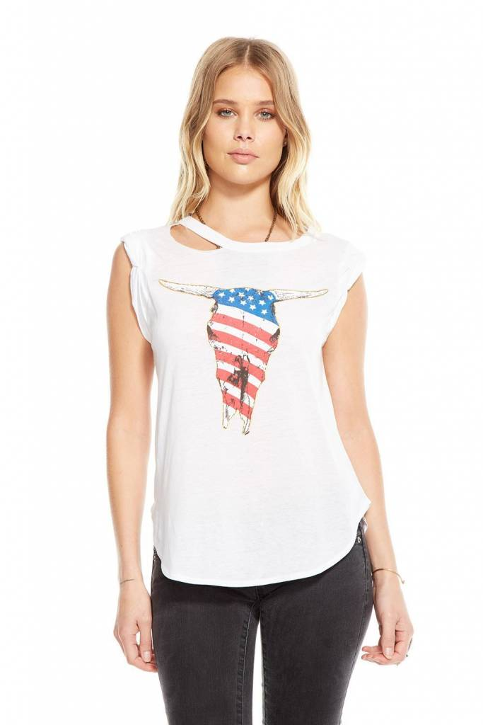 CHASER AMERICAN SKULL SHIRTTAIL MUSCLE TEE