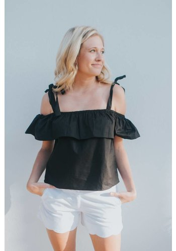 RUFFLE AND TIE TOP