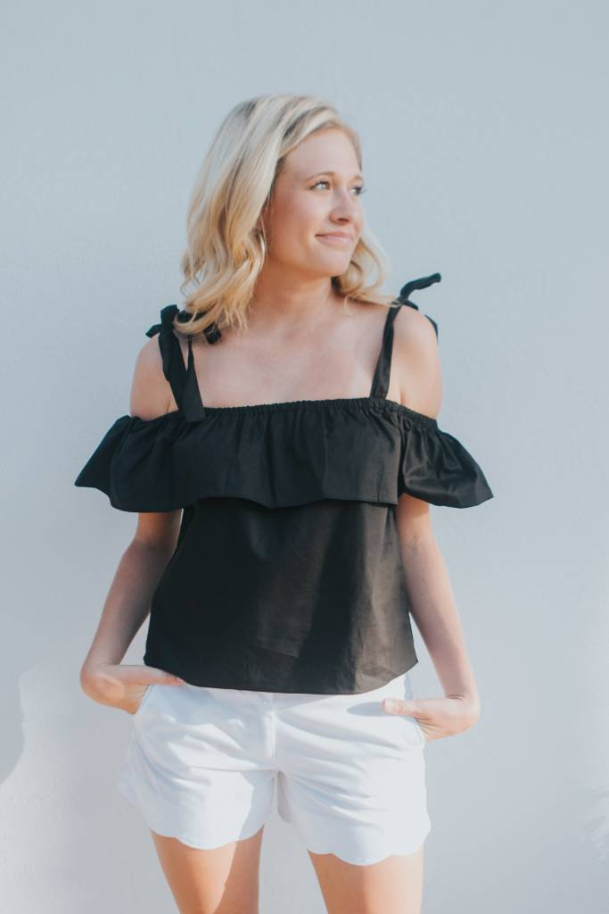 ENGLISH FACTORY RUFFLE AND TIE TOP
