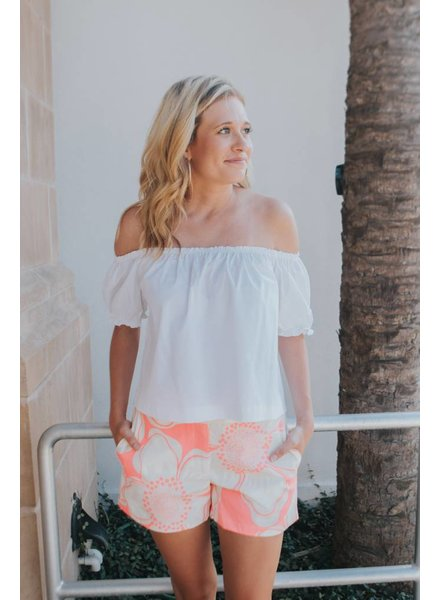 JULIE BROWN PINK HIBISCUS SHORTS