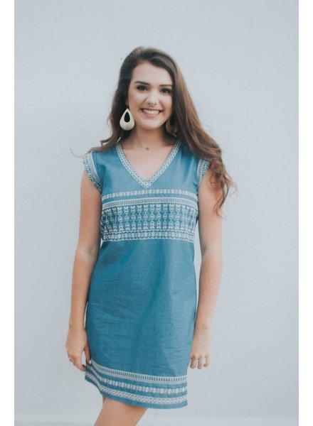 JOY JOY EMB SHIFT DRESS