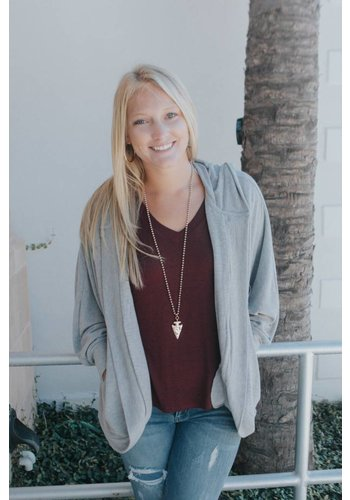 HEATHER HOODED SWEATSHIRT CARDIGAN