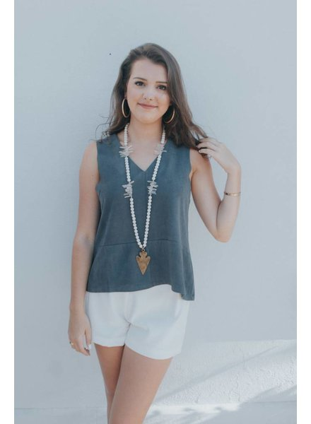BISHOP+YOUNG SLEEVELESS SUEDE V NECK TOP