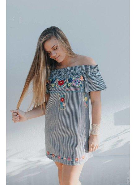 Karlie STRIPED EMBR OFF SHLD DRESS