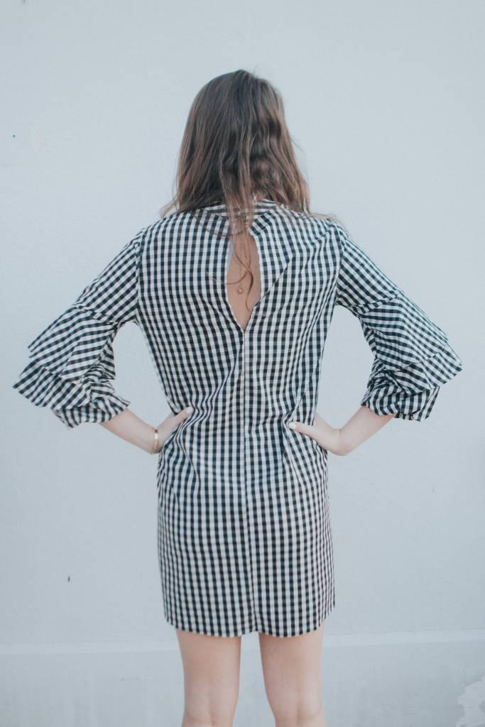 Karlie GINGHAM RUFFLE SLV DRESS