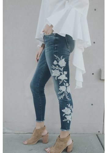 CONNIE SLIM FIT ANKLE SKINNY W/WHT FLORAL