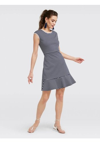 Stripe Sleeveles Ponte Dress
