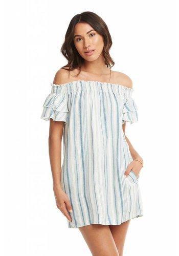 Beachy Linen Smocked Off Shoulder Flouncy S/S Mini Dress