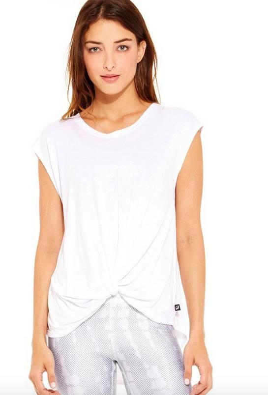 TEREZ T-Shirt Twist Front Cap Sleeve