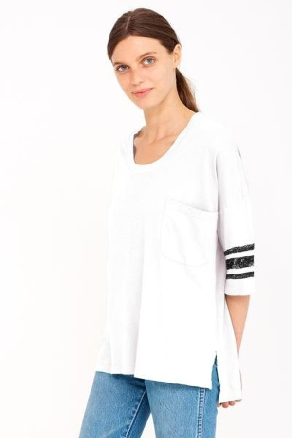 SUNDRY Pocket Stripe Oversized Tee