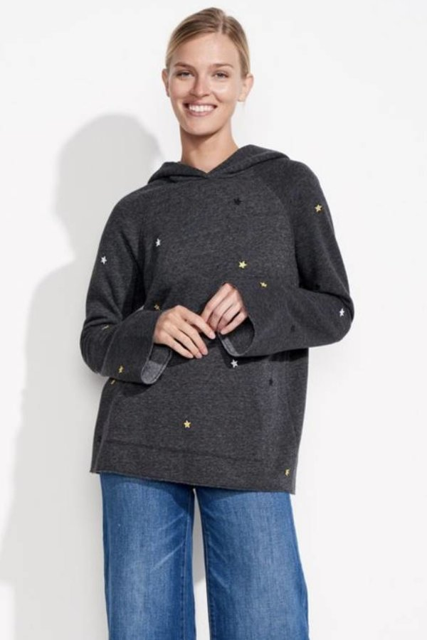 SUNDRY Star Patches bell sleeve hoodie