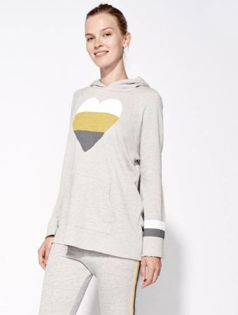 SUNDRY Heart and stripes bell sleeve hoodie