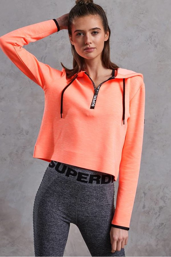 SUPERDRY Sport Gym Tech Luxe Crop Hoodie