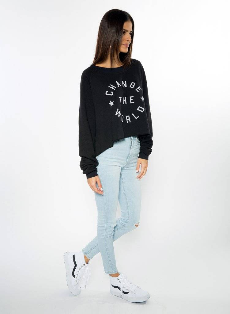 CHRLDR Change The World Crop Boatneck Sweatshirt