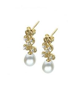 Imperial Pearl 14KY Pearl and Seed Pearl Filigree Earrings