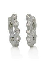 Rona Fisher Palladium Little Pebble Hinged Hoops
